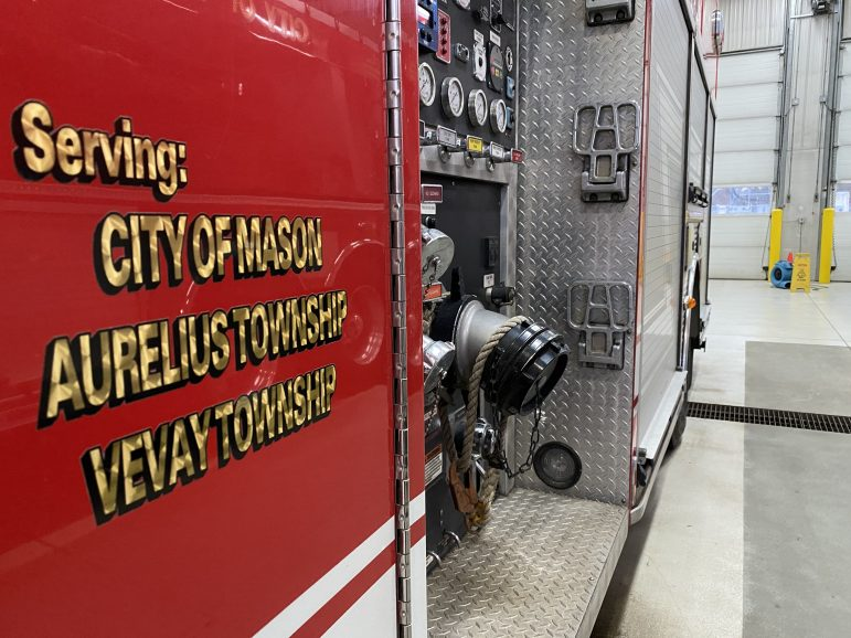 Side view of one of Mason's fire engines.