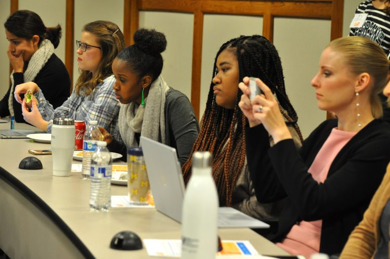 University of Michigan students listen to panelists during the Women Leading Local Government event