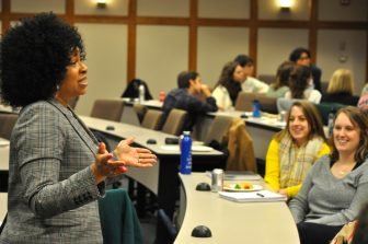 Buena Vista Charter Township Superintendent Torrie McAfee talks with U of M students