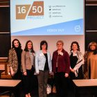 Women from the 16/50 Project gather to present at the University of Michigan