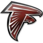 School logo is a stylized falcon