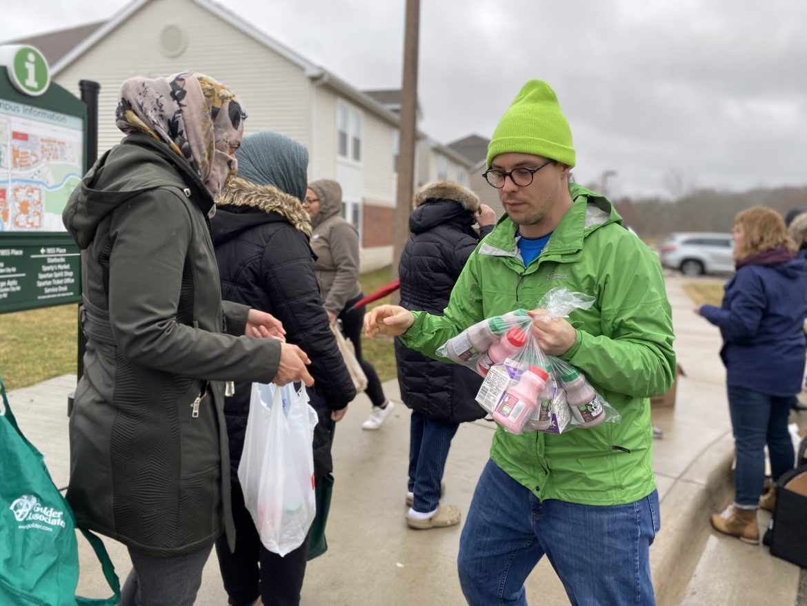 Teachers and volunteers are handing out free meals for parents. East Lansing Public School provides free or low cost meals for at least 700 children weekly.