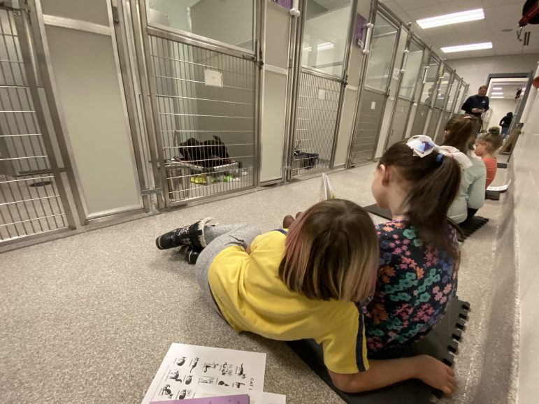 Two young girls read a book to dog.