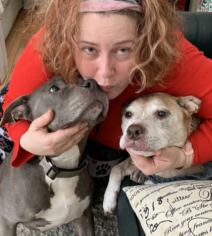 Dr. Maria Iliopoulou and her dogs, Baba (left) and Rocky (right)