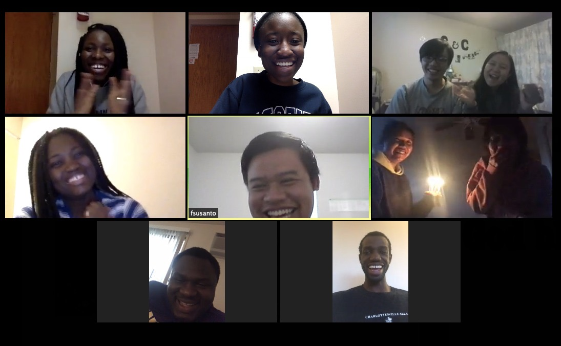 Fredrika Anggelina, center right, celebrates her surprise birthday party with friends via Zoom video conferencing. The novel coronavirus pandemic has changed the way people celebrate such moments. Image: Courtesy of Fredrika Anggelina.