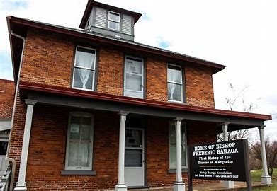 """The house purchased in 1864 for Bishop Frederic Baraga is open to the public. Baraga was known as the """"snowshoe priest"""" for using snowshoes to travel between Native American missions."""
