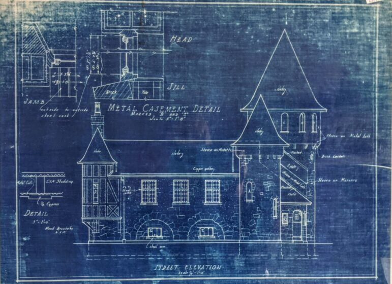 A copy of the original blueprint for Curwood's French-style château castle, which he built in Owosso in 1922.