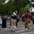 Students doing traditional dance at Holland's Tulip Time Festival.