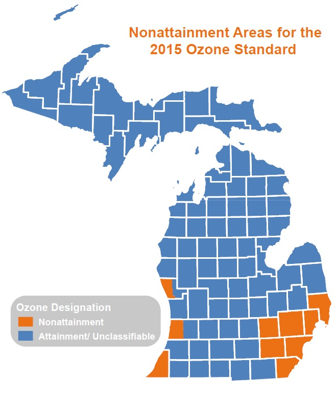 Michigan counties that could bump up to moderate health threat from ozone