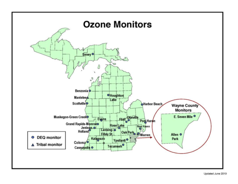 Monitors are used to measure ozone levels in Michigan.