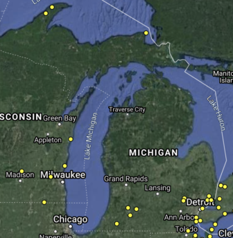 The Motus wildlife tracking system has 16 trackers in Michigan.