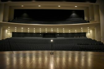 A ghost light illuminates an empty theater at the Wharton Center for the Performing Arts in East Lansing.