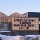 A sign at Kinga's Market in Grand Rapids advertises vegetable seeds.