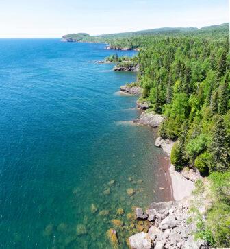 A rocky Lake Superior shore.