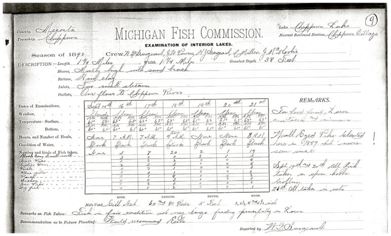 Scanned paper shows examination of Chippewa Lake by the Michigan Fish Commission in 1892.