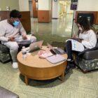 Students at Michigan State University social distancing