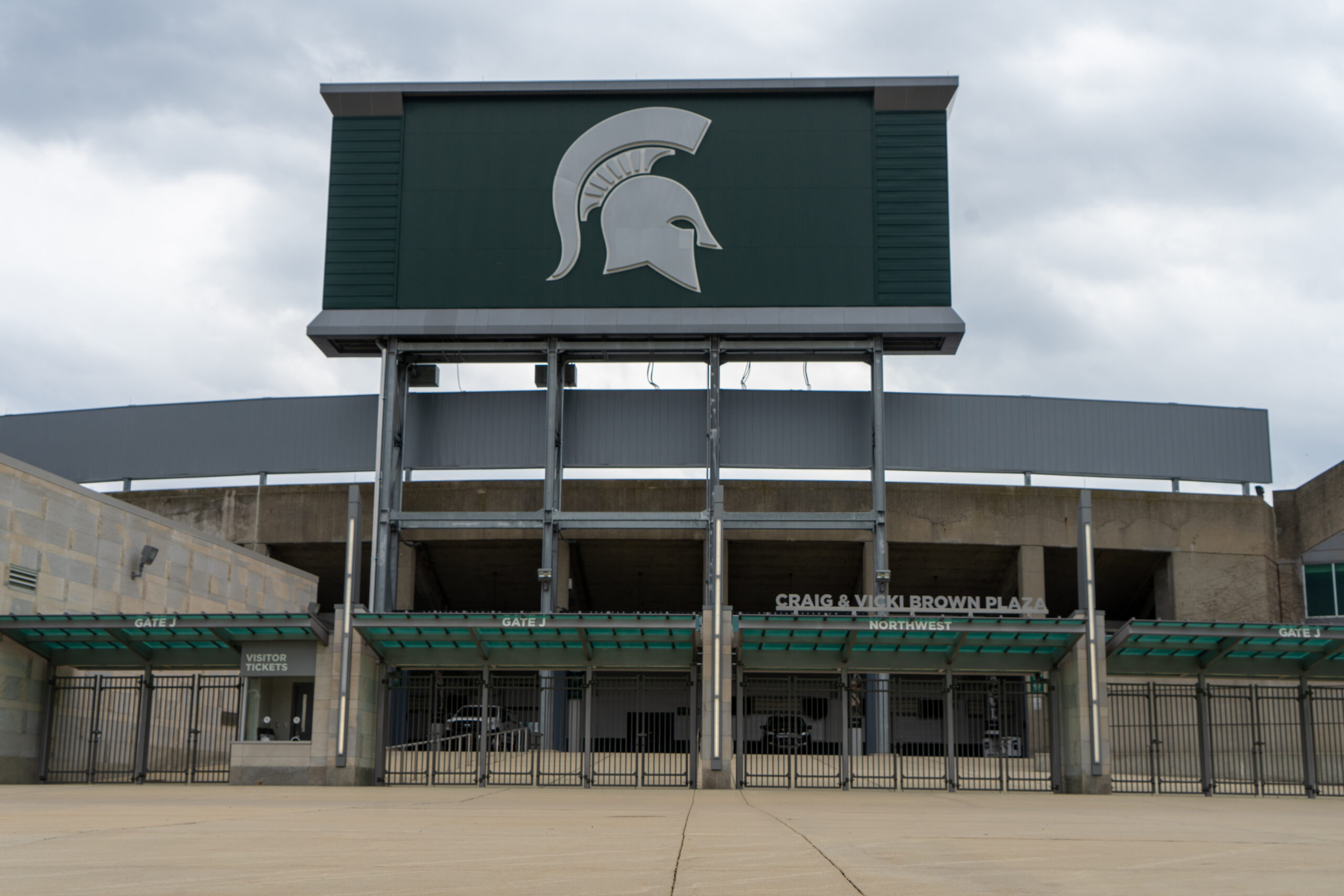 Northwest entrance of an empty Spartan Stadium.