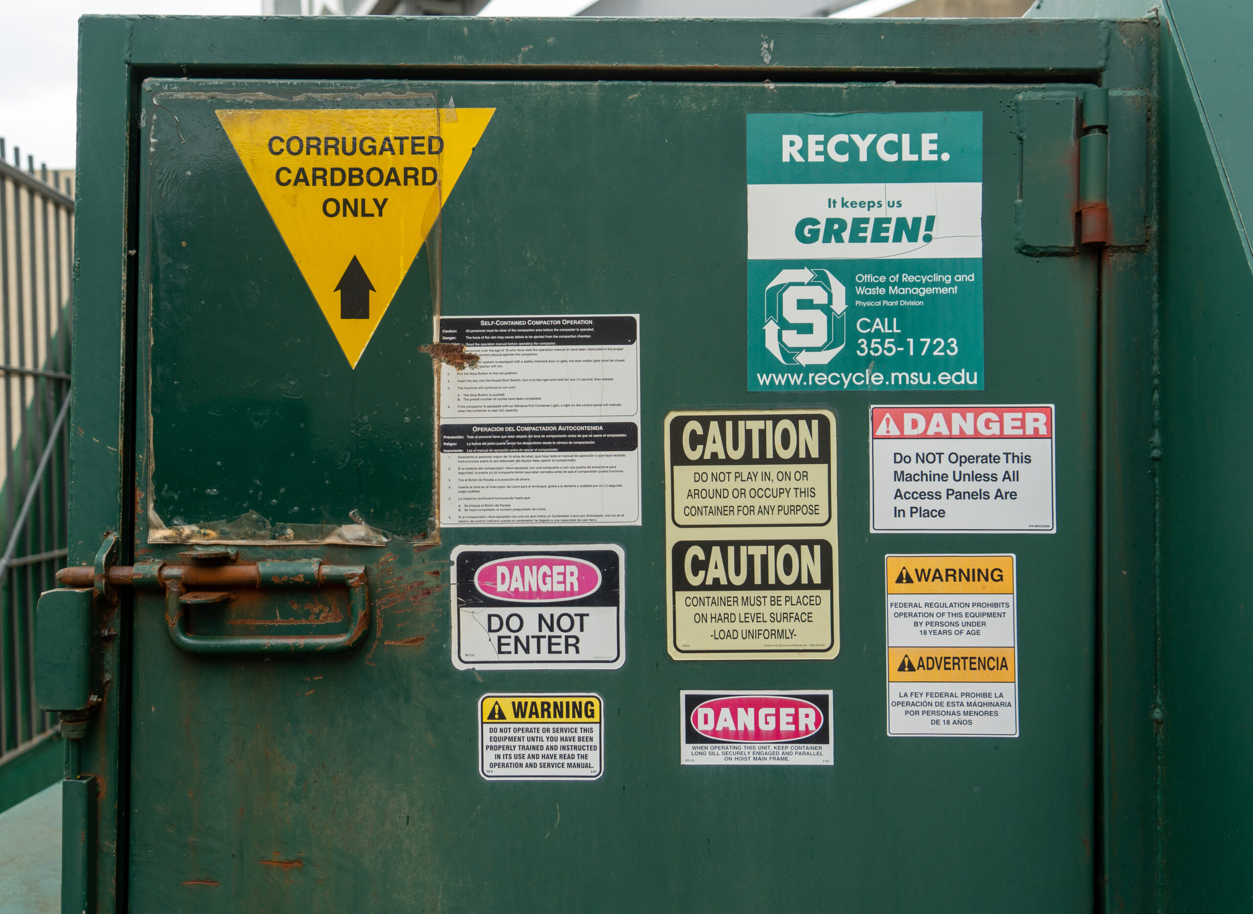 Spartan Stadium has its own cardboard compactor to recycle the large amounts of waste generated at football games.