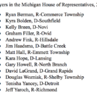 The 13 lawyers in the Michigan House with their party affiliation and hometown.