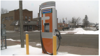 Electric vehicle charging station in Norway, Dickinson County.