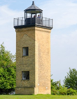 The brick lighthouse at Peninsula Point is now listed on the National Register of Historic Places.