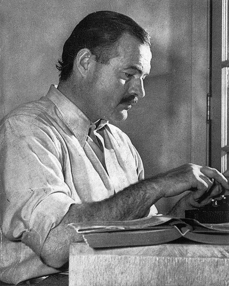 Journalist-turned-novelist-and-short-story-writer Ernest Hemingway.