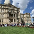 Protestors rallied on the capital lawn Wednesday against the proposed Michigan Cannabis Safety Act.