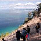 Visitors enjoy Pyramid Point overlook