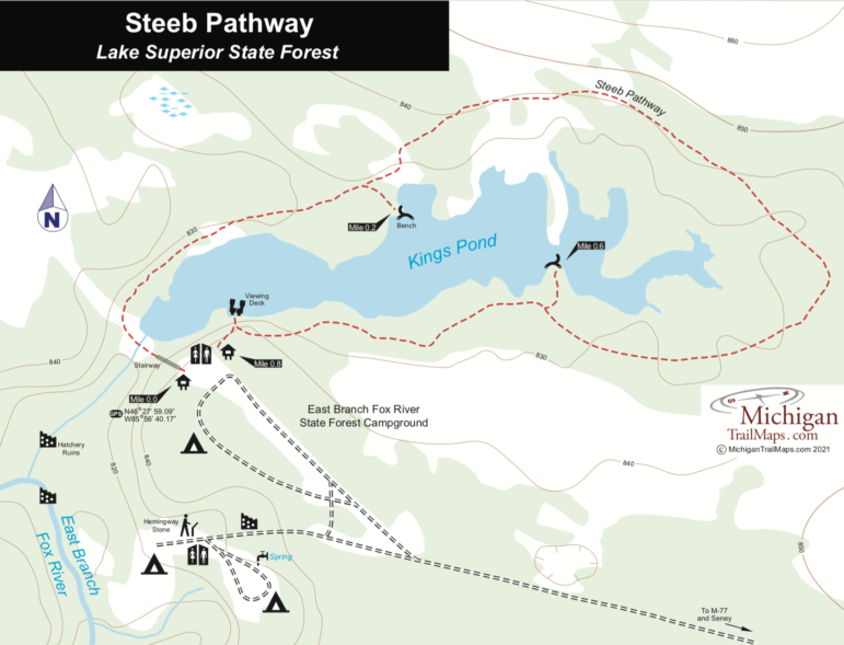 Map of Steeb Pathway in Lake Superior State Forest.