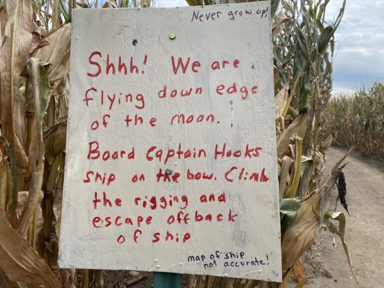 A sign featuring the theme of the Corn Maze this year. Best Maze's theme is based around Fairy Tales
