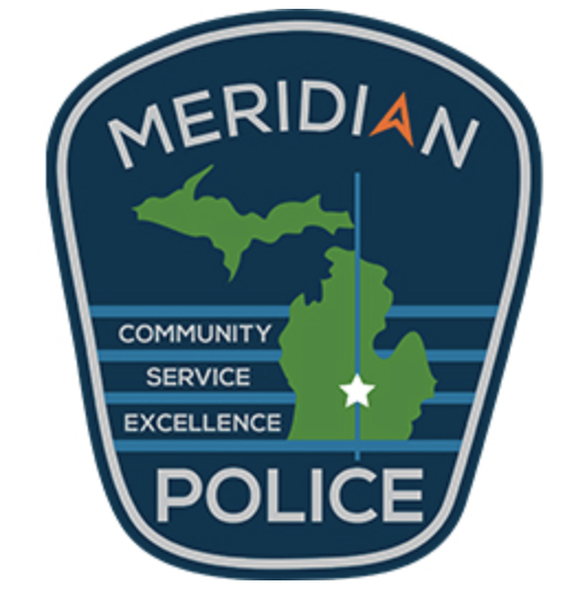 Meridan Township Police Crest, Blue background with the state of Michigan in green with the words Community, Service and Excellence