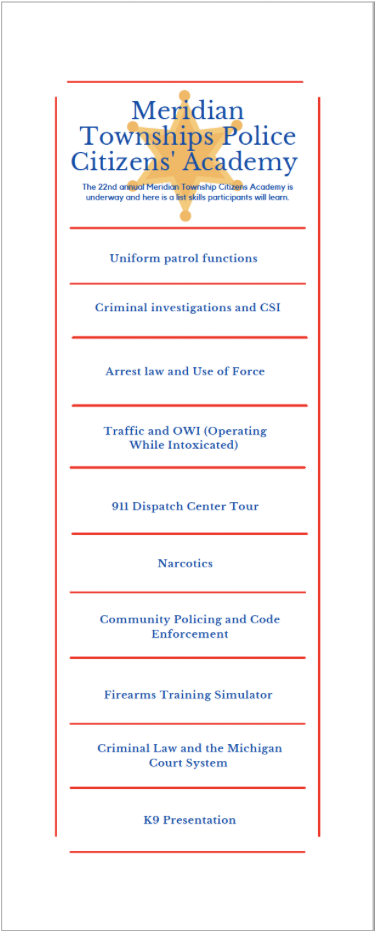 This flyer lists all of the special topics that will be covered in Meridian's Citizens' Academy