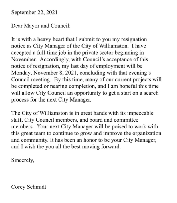 Corey Schmidt's official resignation letter. He later took the time to personally call each council member and board chair to let them know about his new opportunity.