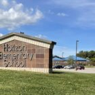"photo of school yard sign that reads ""Horizon Elementary School"""